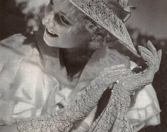 1936 Skylight Hat & Gloves Vintage Crochet Pattern 250