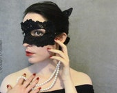 Catwoman Lace Mask and Leather Ears