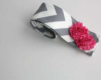Camera Strap Cover with lens cap pocket and padding included - Shabby Chic Grey Chevron Floral