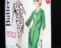 Uncut Butterick 3014  Dress Pattern Vintage 50s 60s Shirtwaist Shift with Tie Belt, Sleeve Length Options, Quick Easy Unused, Bust 39