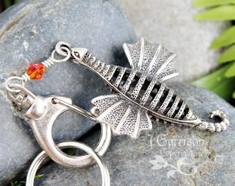 Flying Dragon keychain - 3D antiqued silver tone metal dragon, Fire Opal Swarovski crystal, big clasp and keyring -Free Shipping USA