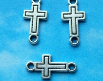 SALE - 20 cross connectors with outline detail, two hole, double sided, silver tone, 23mm