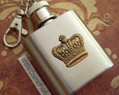 Royal Crown Flask Keychain 1 Oz  Miniature Size Mini Flask From Cosmic Firefly