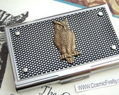Owl Business Card Case Woodsy Owl Industrial Design Steampunk Card Case Silver & Black Metals