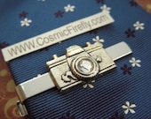 Men's Tie Clip Camera Tie Clip Vintage Inspired Men's Gifts For Him Silver Tie Clip Swarovski Crystal Lens