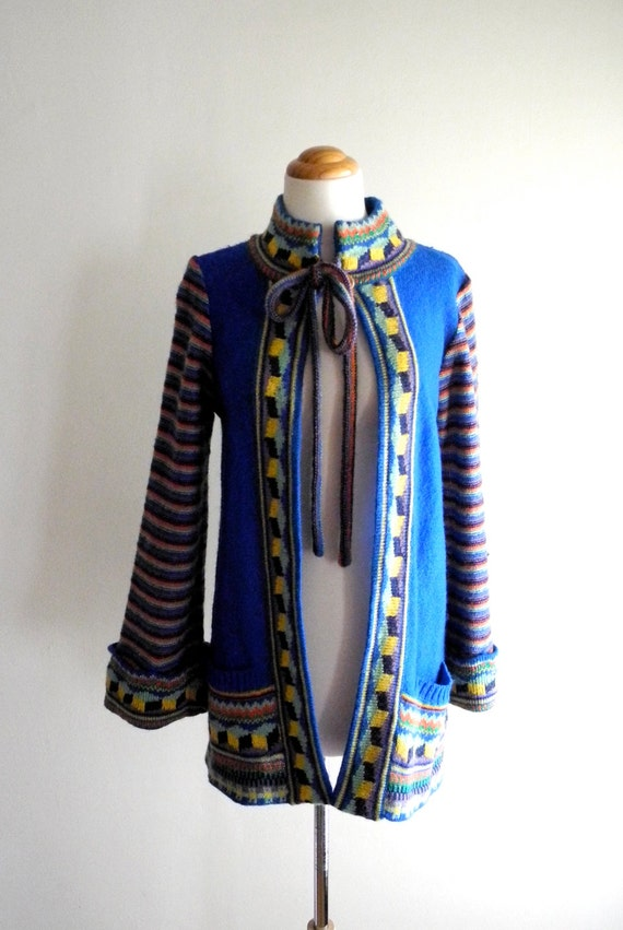 RAINBOW striped 60s / 70s hippie sweater cardigan OS