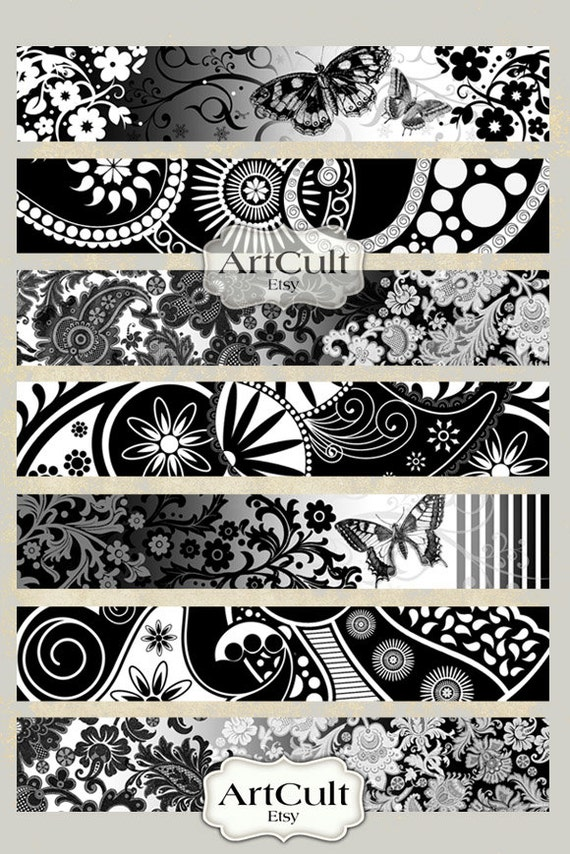 Printable 1x6 inch size images ART STRIPS No3. for bracelets cuffs, bookmarks, magnets, scrapbooking paper Digital Collage Sheet ArtCult