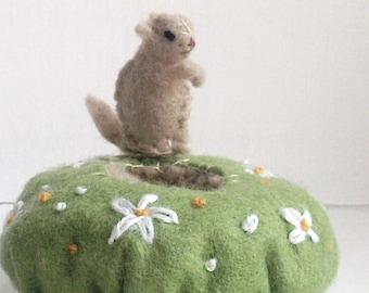 Tiny Prairie Dog --  with tiny prarie dog hole home