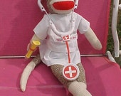 Sock Monkey Nurse Rockford Red Heel Classic New Original Will Personalize and Customize