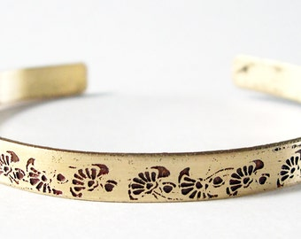 Etched Brass Cuff Delicate Flowers No. 4