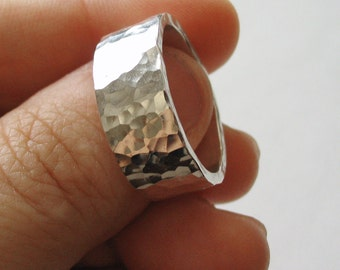 Men's Wedding Band, Men's Ring, Sterling Silver, Thick Band, Rugged, Hammered -- Immortalis Ring