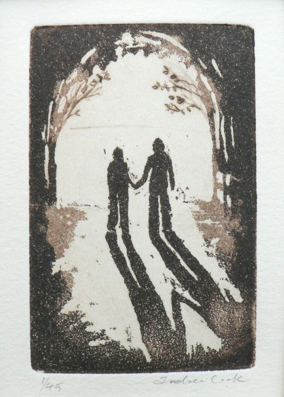 togetherness, never alone - original etching, dry point and aquatint. Walking hand in hand into the light.