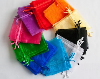 50 Organza Bags, 4x6 inch, 5 each of 10 colors