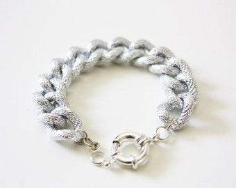 Silver Textured Chain Bracelet
