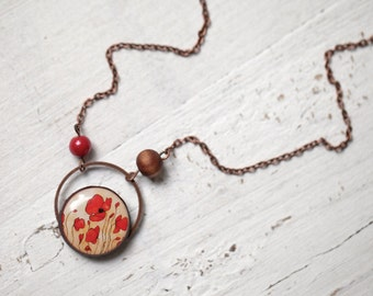 Red Poppy necklace - Red flower jewelry - Red necklace - Red poppies pendant - Floral necklace - Red flower pendant - Art Necklace (N040)