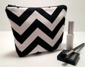 Makeup Bag, Cosmetic Case, Bridesmaid Gift Bag, Make Up Case, Wedding Party Gift, Travel Bag in Black White Chevron Fabric