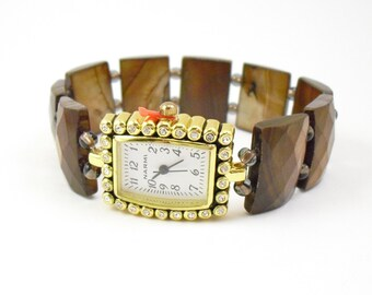 Toffee Shell Stretchy Watch with Rhinestone Studded Watch Face