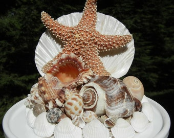 Seashell Wedding Cake Topper - Tropical Beachcomber - Seashell Starfish Wedding Cake Topper