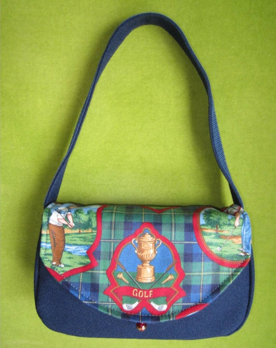 Purse, Bag or Clutch in Blue and Green Plaid Trophy Golf Fabric