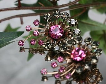 Large Vintage Gold Tone Metal and Rhinestone Clip Earrings - Pink and Gray