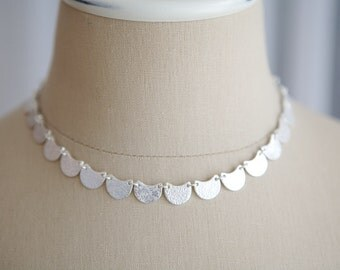Silver Choker Fine Silver Jewelry Scallop Edge Necklace Frames the Face Wedding Necklace Jewelry for Bride Gift for Wife Special Occasion