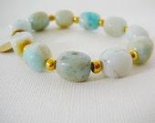 Amazonite Gemstone Bracelet Nugget Beads stretch 22kt gold plated friendship bracelet