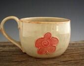Large Mug in Rustic White - Cute Flower - Large Coffee Mug - Soup Mug - Pottery Mug - by DirtKicker Pottery