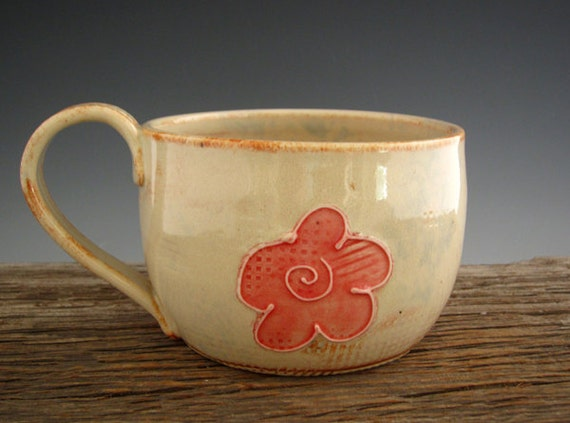 Large Mug in Rustic White - Cute Flower - Large Coffee Mug - Soup Mug - Pottery Mug - by DirtKicker Pottery