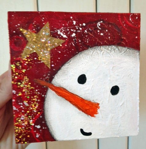 Snowman painting christmas decor red background whimsical for How to paint snowmen
