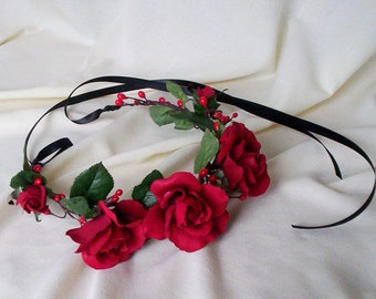 Red rose headband music festival Flower crown fashion hair wreath destination Wedding Bridal halo Accessories hairpiece Frida Kahlo circlet
