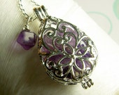 Worry Locket - amethyst teardrop locket / floating locket / silver locket / amethyst locket / amethyst necklace / living locket