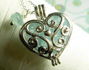 Worry Locket - aquamarine heart locket / heart locket / floating locket / aquamarine necklace / aquamarine locket / living locket