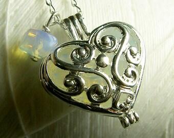 Worry Locket - opal heart locket / heart locket / silver locket / opal locket / opal necklace / floating locket / living locket