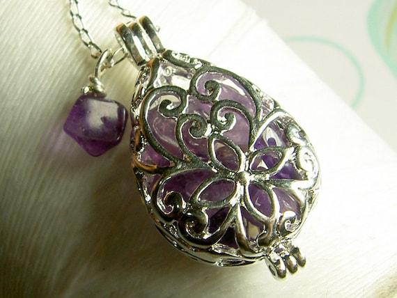 Worry Locket - amethyst teardrop locket / floating locket / silver locket / amethyst locket / amethyst necklace / living locket