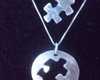 Mother Daughter Puzzle Necklace Set, Mom and Daughter matching necklace set, Mother Daughter Autism set, Autism Awareness necklace set