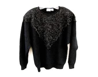 80s Vintage Lambswool Angora Sweater, Long Black Sweater Embellished, Nilani Tunic Sweater Beaded Ribbon,  Med Lg