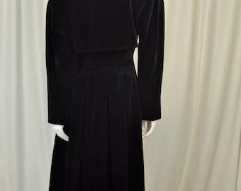 Louis Feraud Black Velvet Coat, Double Breasted. 1970's