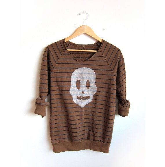 LIMITED STOCK - Skully Friend Hand Stenciled Deep Scoop Neck Sweatshirt in Cappuccino and Navy Stripe - S M L XL