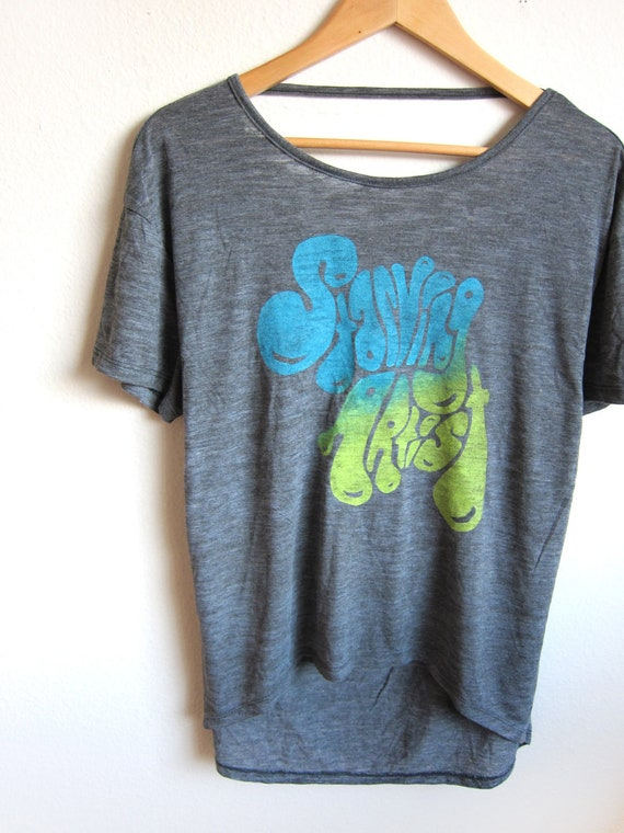 SAMPLE SALE - Starving Artist - Hand Stenciled Deep Scoop Back Hi Lo Heather Burnout Tee in Charcoal and Lime Green and Teal - L