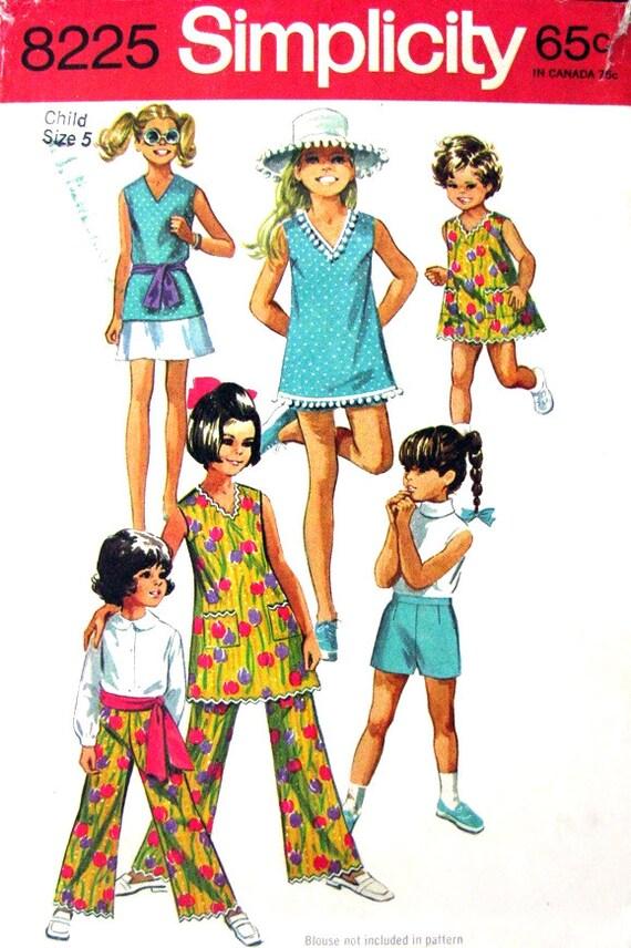 60s Girls Dress Top Skirt Shorts & Pants Vintage Pattern Simplicity 8225 Size 5