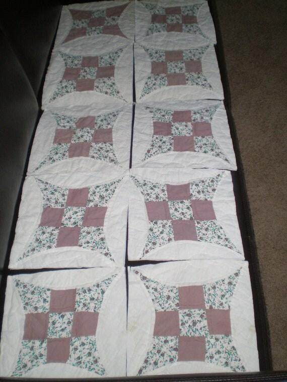 Set of 10 Quilt Squares, Quilt Destash: 10 vintage Grist Mill quilt squares for projects, Art, Tablescape