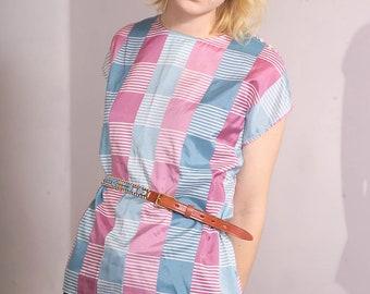 Vintage Blue and Pink Plaid and Stripe Cap Sleeve Shoulder Button Shirt Blouse (sz XS S M)