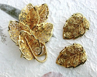 Judy Lee Gold Tone Filigree Leaf Brooch Earring Demi Parure Set