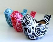 Ceramic Bird Planter Painted Swedish Folk Art Vase Tattoo Black White Blue Red Hearts - MADE TO ORDER