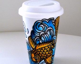 Ceramic Travel Mug Koi Fish Ocean Waves Japanese Tattoos Asian Art Hand Painted Orange Blue White - MADE TO ORDER