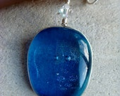 Blue glass hand made one of a kind necklace