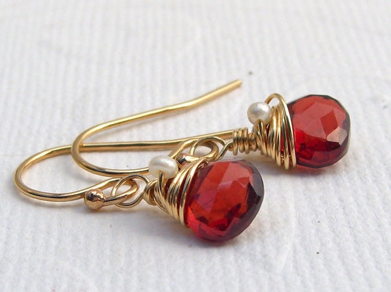 Petite Red Garnet drop earrings in goldfill, wire wrapped, January birthstone, Garnet and pearls