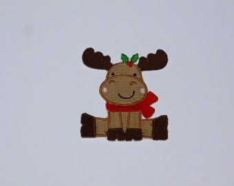 "Embroidered Iron On Applique  ""Winter Reindeer""   RTS"