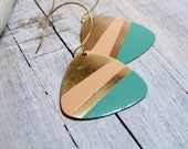 Hand painted guitar pick earrings - peach and green