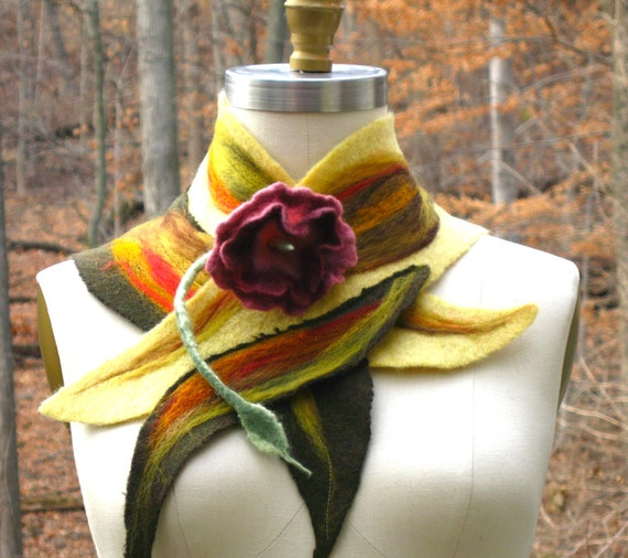 Reserved for Kathy. Sculptural felted  NECK WARMER/ Scarf/ Wrap/ Scarflette with felted flower